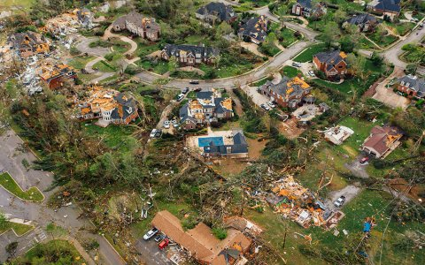 Aerial shot of a neighborhood destroyed by storm